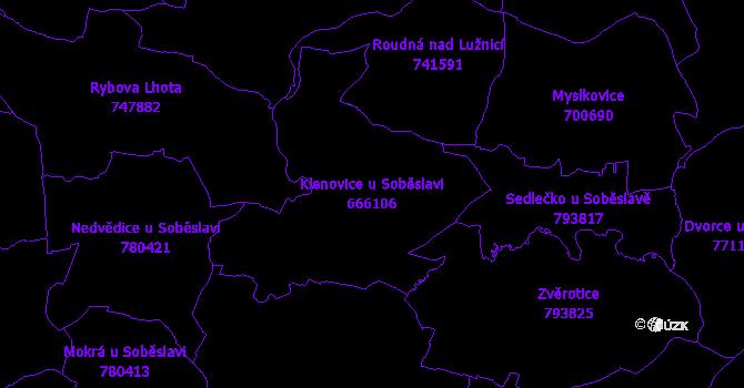 Katastrální mapa Klenovice u Soběslavi - přehledová mapa katastrálního území