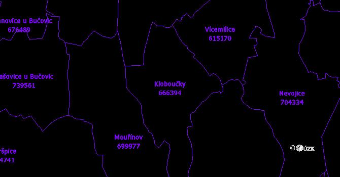 Katastrální mapa Kloboučky - přehledová mapa katastrálního území
