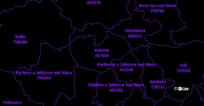 Katastrální mapa Kokonín - přehledová mapa katastrálního území