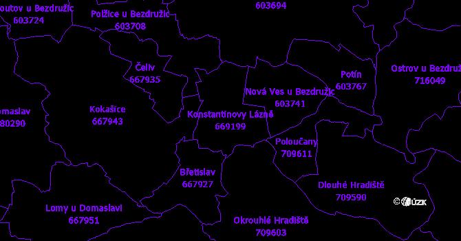 Katastrální mapa Konstantinovy Lázně