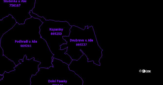 Katastrální mapa Doubrava u Aše - přehledová mapa katastrálního území