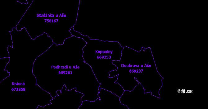 Katastrální mapa Kopaniny - přehledová mapa katastrálního území