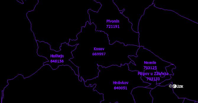 Katastrální mapa Kosov - přehledová mapa katastrálního území