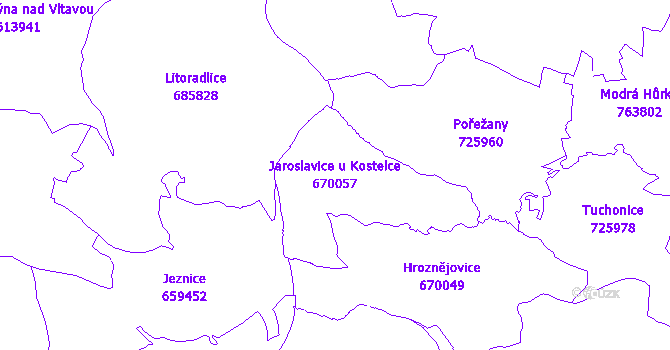 Katastrální mapa Jaroslavice u Kostelce - přehledová mapa katastrálního území