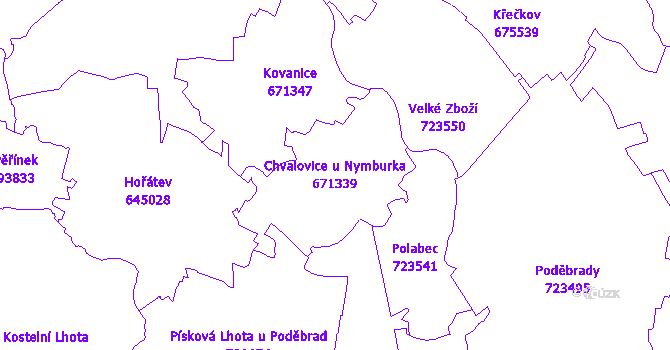 Katastrální mapa Chvalovice u Nymburka - přehledová mapa katastrálního území