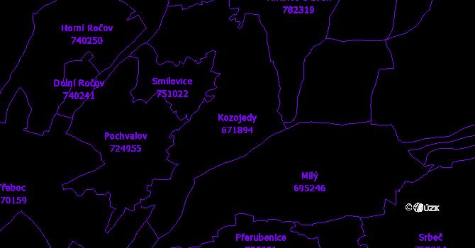 Katastrální mapa Kozojedy - přehledová mapa katastrálního území