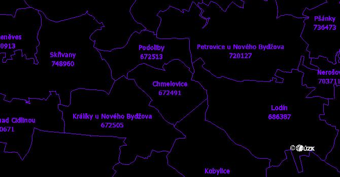 Katastrální mapa Chmelovice - přehledová mapa katastrálního území