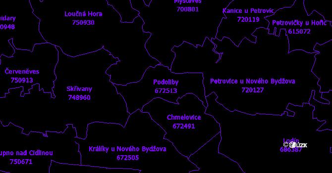 Katastrální mapa Podoliby - přehledová mapa katastrálního území