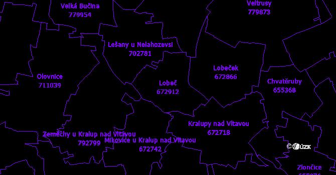 Katastrální mapa Lobeč - přehledová mapa katastrálního území
