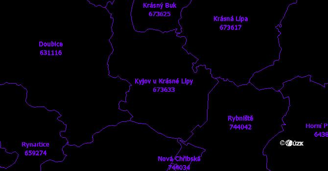 Katastrální mapa Kyjov u Krásné Lípy - přehledová mapa katastrálního území