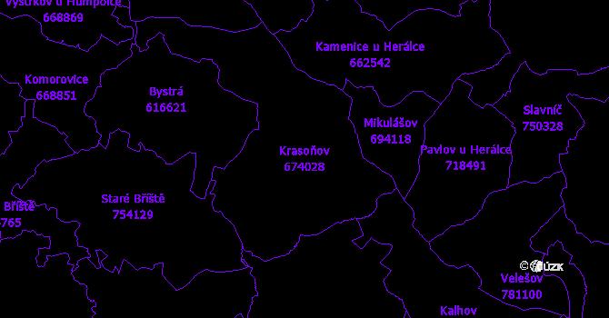 Katastrální mapa Krasoňov - přehledová mapa katastrálního území