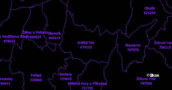 Katastrální mapa Krátká Ves - přehledová mapa katastrálního území
