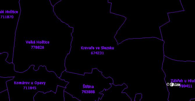 Katastrální mapa Kravaře ve Slezsku - přehledová mapa katastrálního území