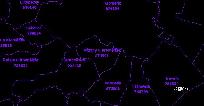 Katastrální mapa Vážany u Kroměříže