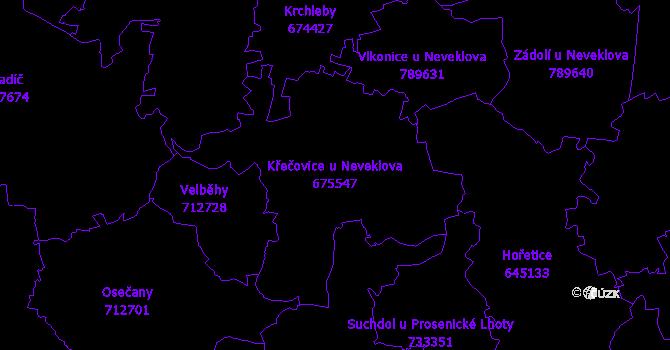 Katastrální mapa Křečovice u Neveklova - přehledová mapa katastrálního území