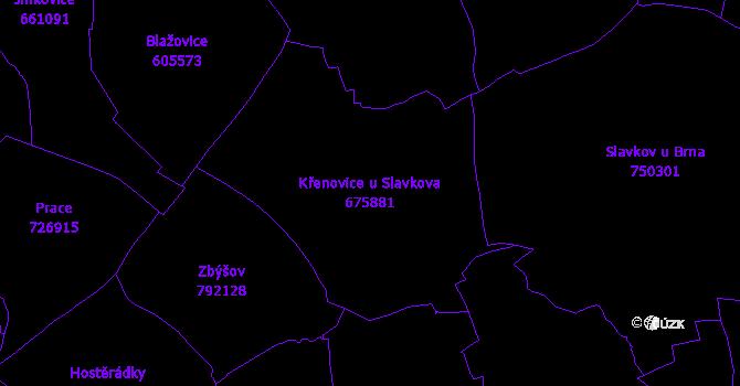 Katastrální mapa Křenovice u Slavkova - přehledová mapa katastrálního území