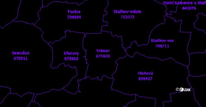 Katastrální mapa Vránov - přehledová mapa katastrálního území