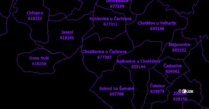 Katastrální mapa Chvalšovice u Čachrova - přehledová mapa katastrálního území