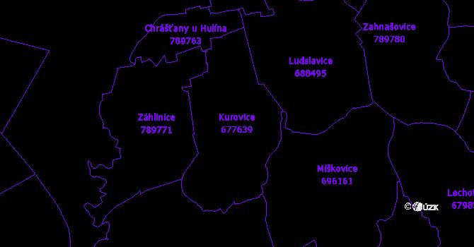 Katastrální mapa Kurovice - přehledová mapa katastrálního území
