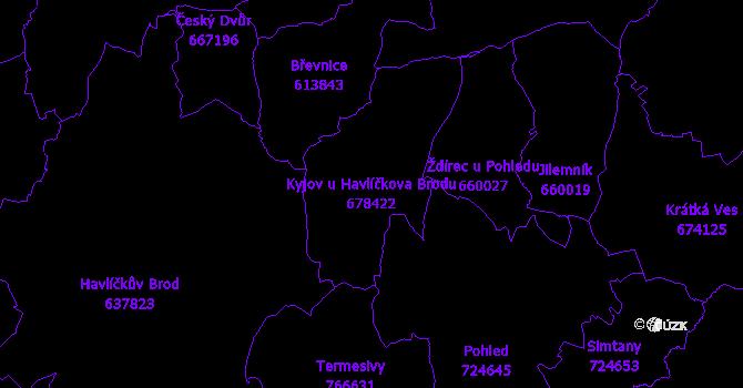 Katastrální mapa Kyjov u Havlíčkova Brodu - přehledová mapa katastrálního území