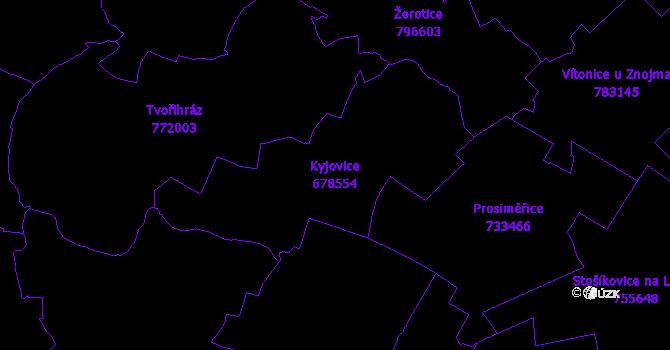 Katastrální mapa Kyjovice - přehledová mapa katastrálního území