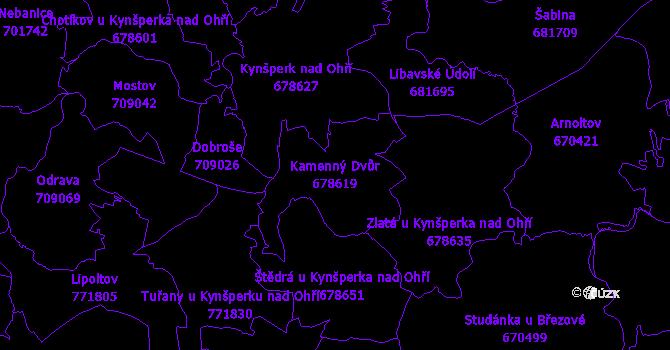 Katastrální mapa Kamenný Dvůr - přehledová mapa katastrálního území