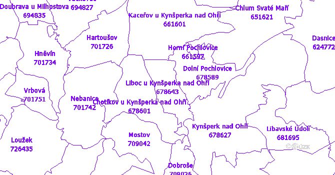 Katastrální mapa Liboc u Kynšperka nad Ohří - přehledová mapa katastrálního území