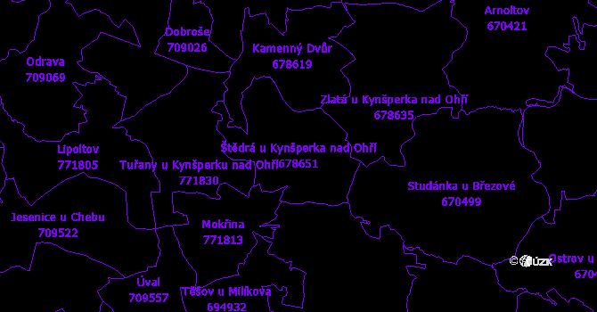 Katastrální mapa Štědrá u Kynšperka nad Ohří - přehledová mapa katastrálního území