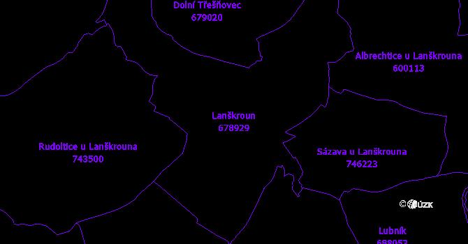 Katastrální mapa Lanškroun - přehledová mapa katastrálního území