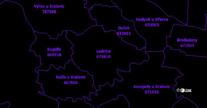 Katastrální mapa Lednice - přehledová mapa katastrálního území