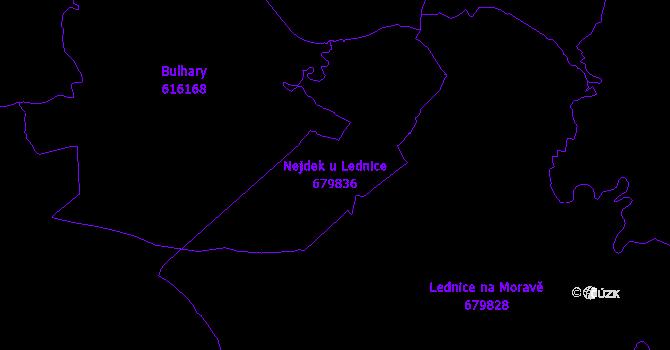 Katastrální mapa Nejdek u Lednice - přehledová mapa katastrálního území