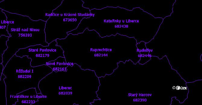 Katastrální mapa Ruprechtice - přehledová mapa katastrálního území