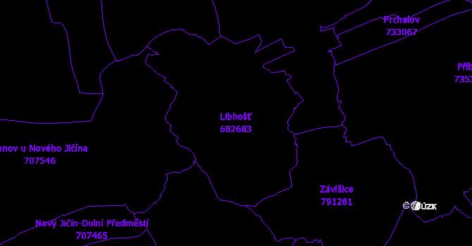 Katastrální mapa Libhošť - přehledová mapa katastrálního území