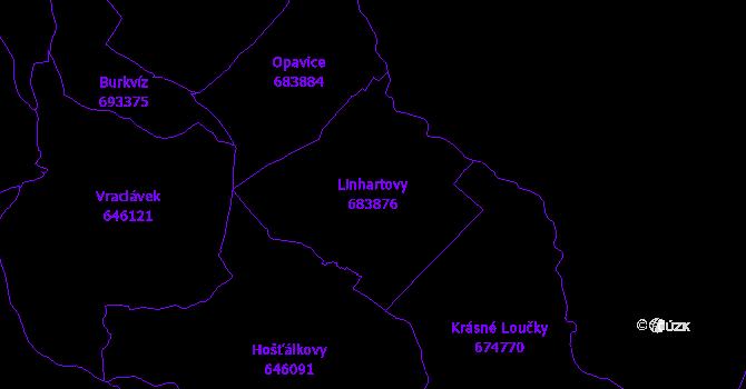 Katastrální mapa Linhartovy - přehledová mapa katastrálního území