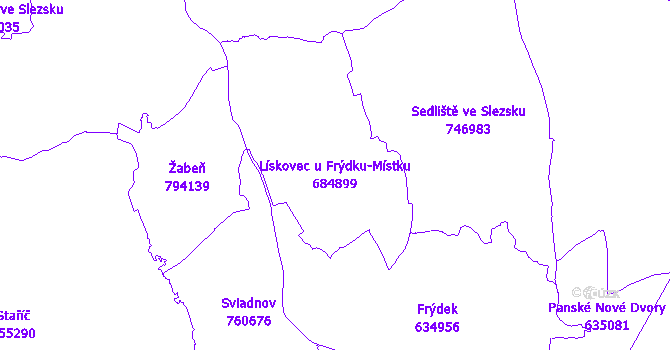 Katastrální mapa Lískovec u Frýdku-Místku - přehledová mapa katastrálního území