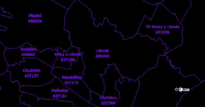 Katastrální mapa Litovel - přehledová mapa katastrálního území