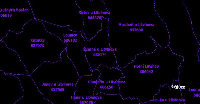 Katastrální mapa Šumná u Litvínova - přehledová mapa katastrálního území