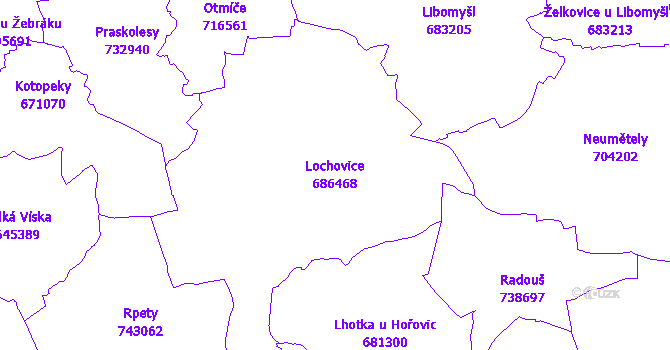 Katastrální mapa Lochovice - přehledová mapa katastrálního území