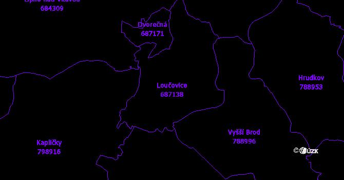 Katastrální mapa Loučovice - přehledová mapa katastrálního území
