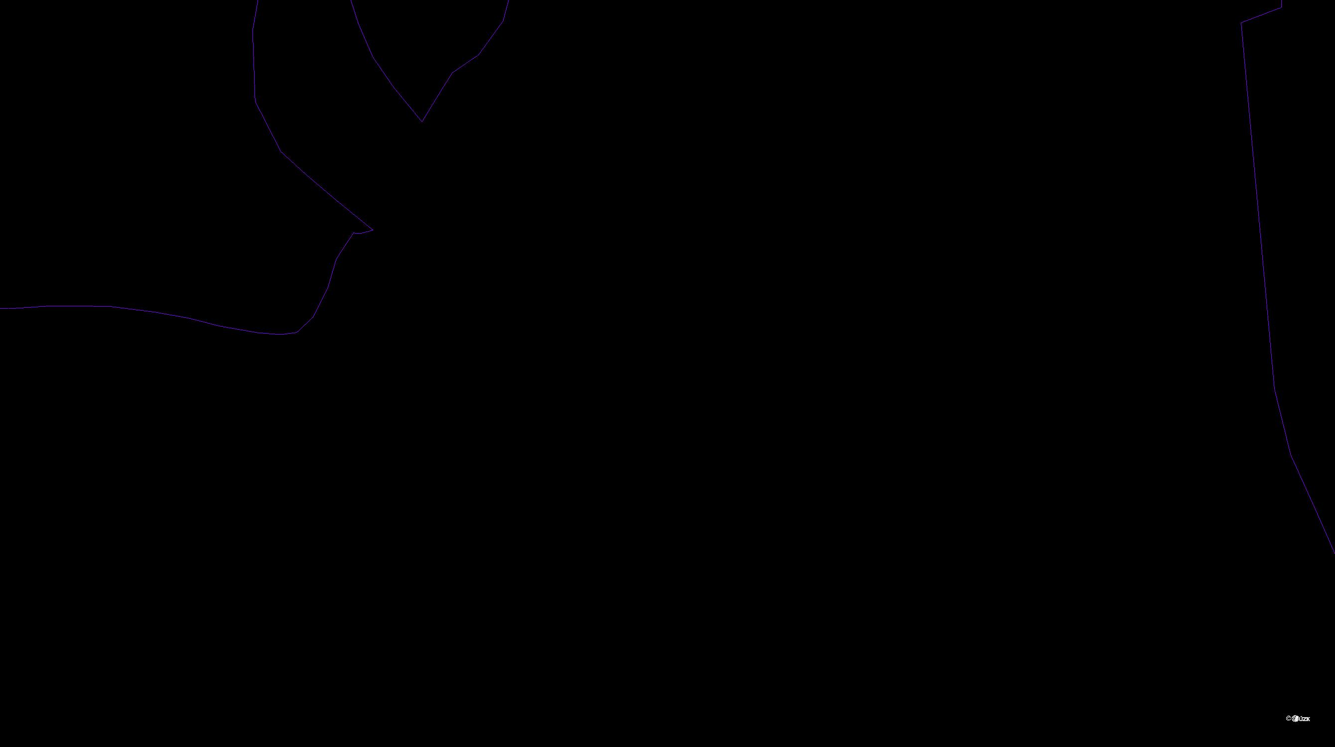 Katastrální mapa pozemků a čísla parcel Dvorečná