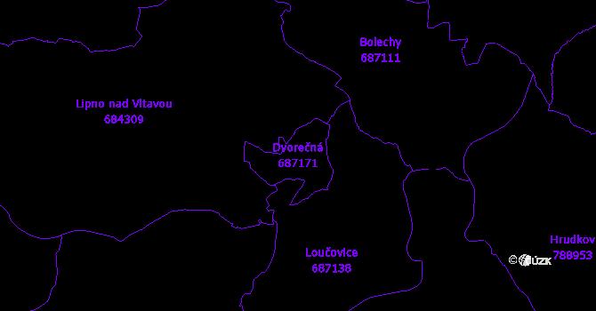 Katastrální mapa Dvorečná - přehledová mapa katastrálního území