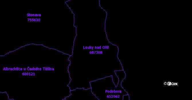 Katastrální mapa Louky nad Olší - přehledová mapa katastrálního území