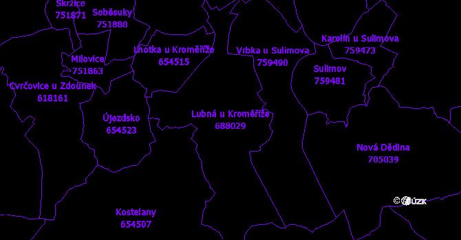 Katastrální mapa Lubná u Kroměříže