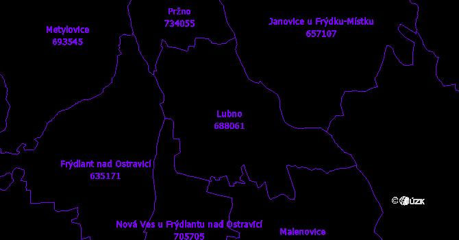 Katastrální mapa Lubno - přehledová mapa katastrálního území