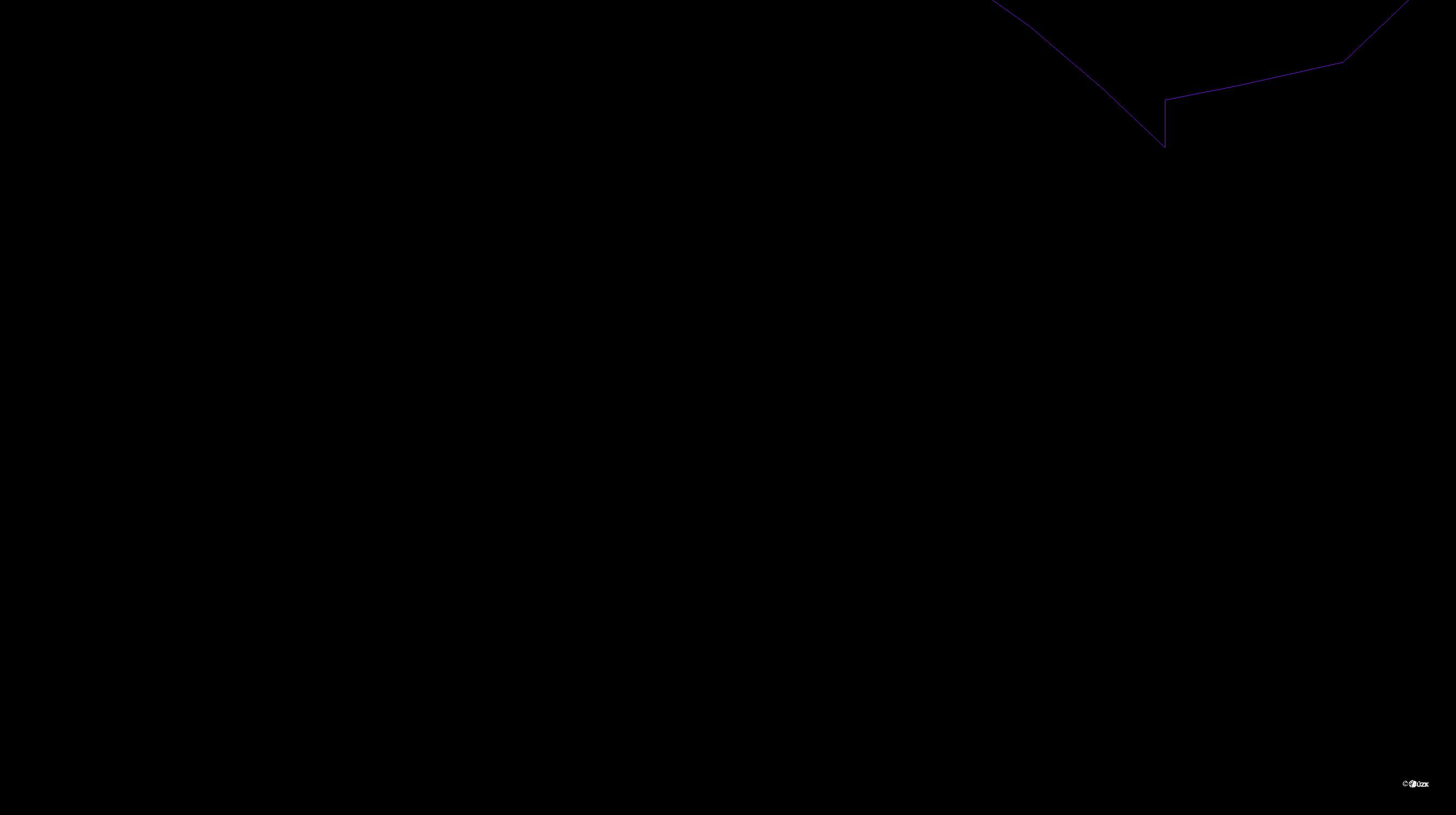 Katastrální mapa pozemků a čísla parcel Horní Maxov