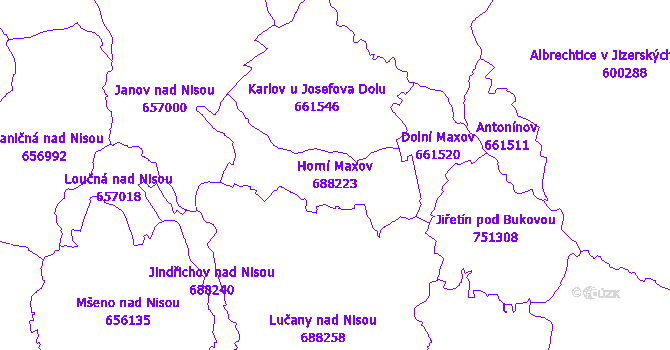 Katastrální mapa Horní Maxov - přehledová mapa katastrálního území