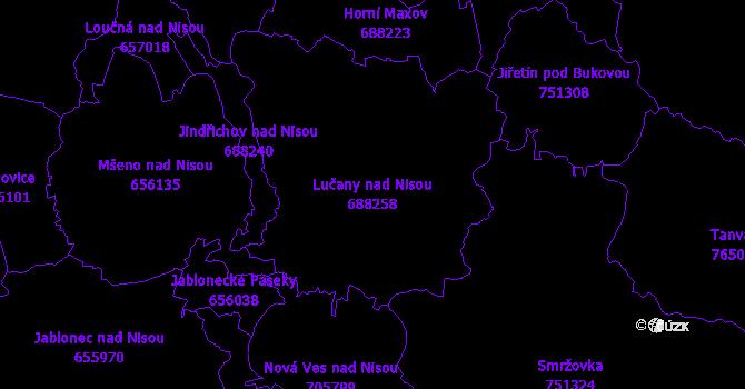 Katastrální mapa Lučany nad Nisou - přehledová mapa katastrálního území