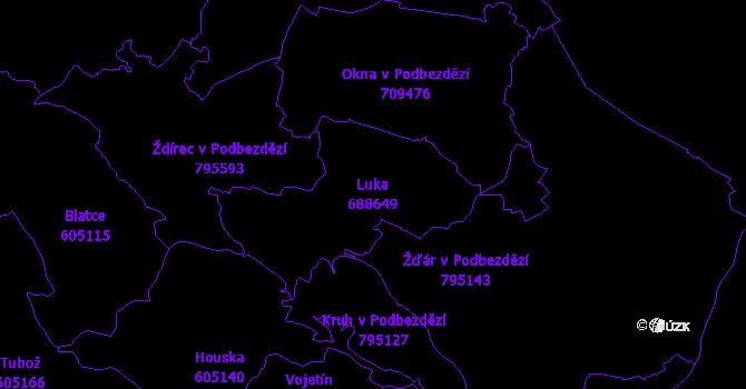 Katastrální mapa Luka - přehledová mapa katastrálního území
