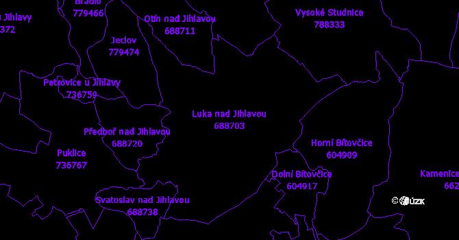 Katastrální mapa Luka nad Jihlavou - přehledová mapa katastrálního území