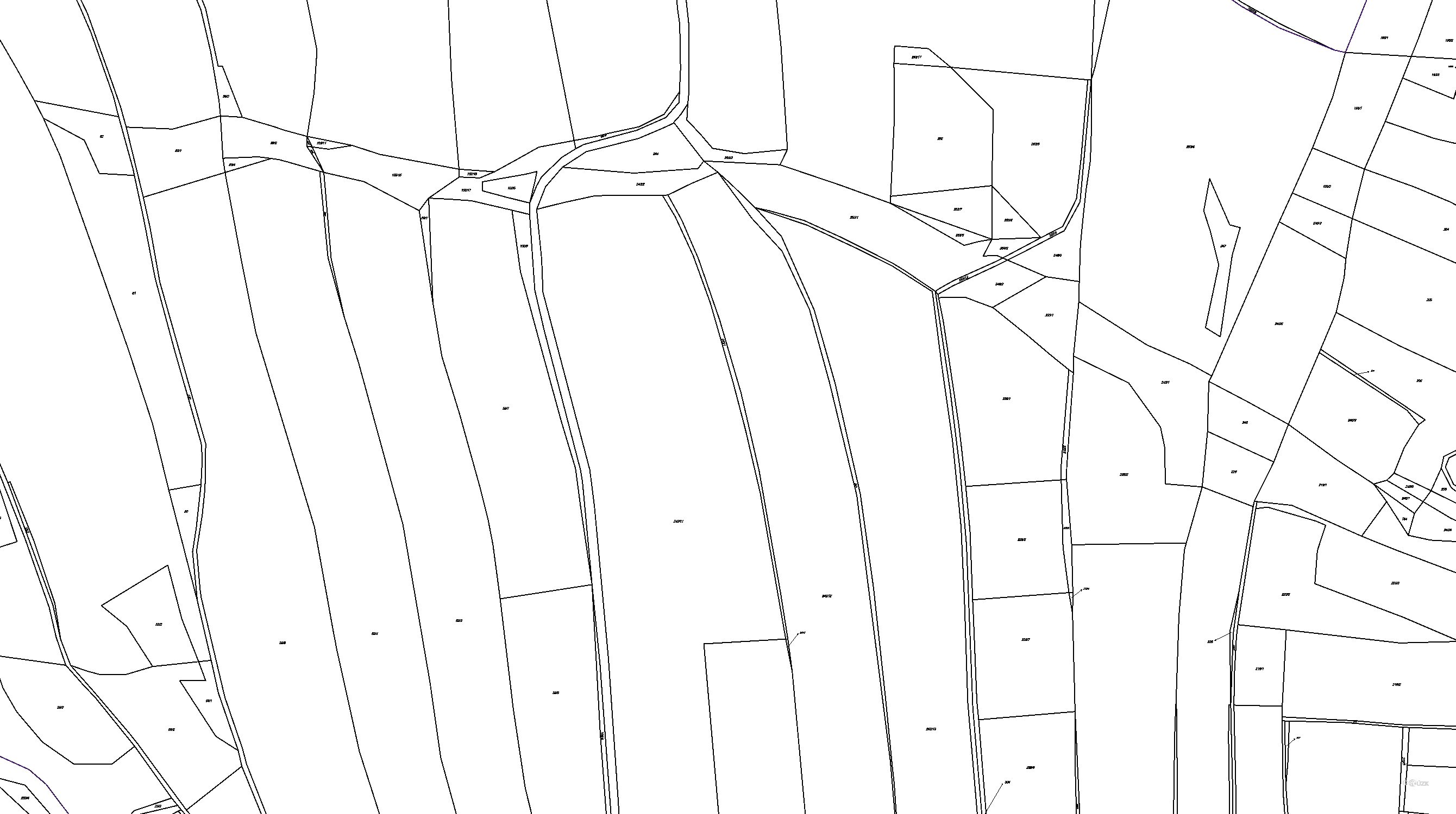 Katastrální mapa pozemků a čísla parcel Otín nad Jihlavou